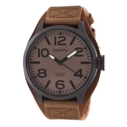 Round Raw Leather Watch-Brown Thumbnail