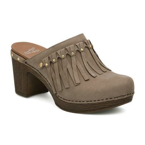 Deni Heeled Backless Clog - Taupe Thumbnail