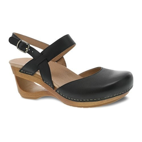 Taci Open Wedge Closed Toe Shoe- Black Thumbnail