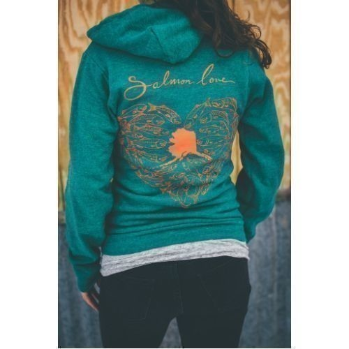 Women's Salmon Love Zip Up Hoodie Thumbnail