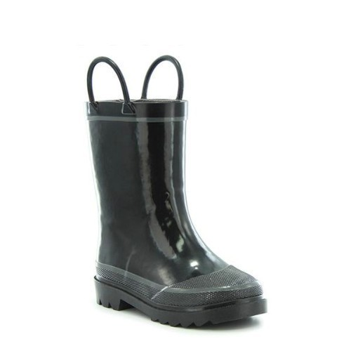 Junior Black Solid Rain Boot Thumbnail