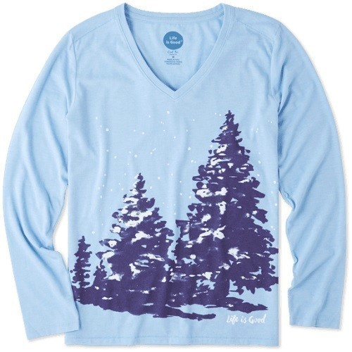 Woemn's Long-Sleeve Cool Tee Snowy Trees Thumbnail