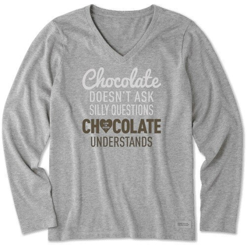 Women's Chocolate Questions Long-Sleeve Tee Thumbnail