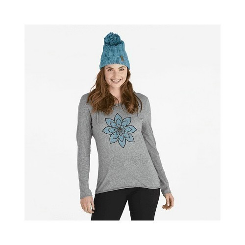 Women's Geo Daisies LS Hooded Top Thumbnail