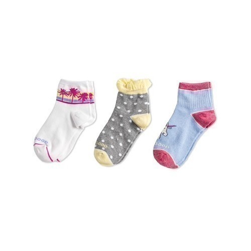 3-pk Girls Palm Tree & Unicorn Quarter Socks Thumbnail