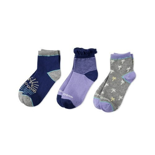 3-PK Girls Palm Trees Quarter Socks Thumbnail