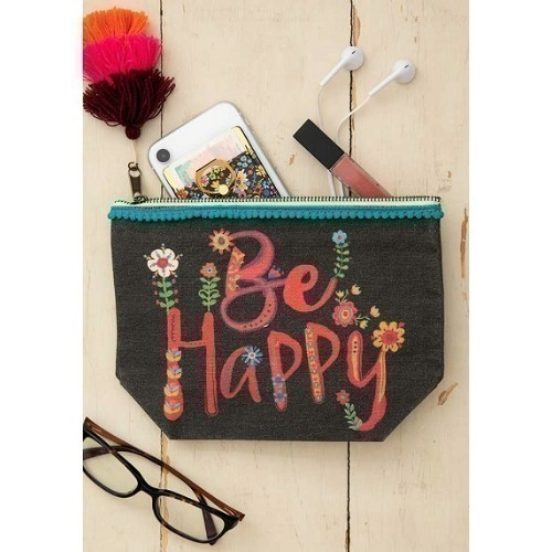 Be Hppy Canvas Pouch in Black Thumbnail