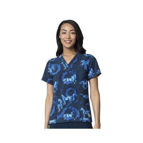 Women's Multi-Pocket V-Neck Print Scrub Top Thumbnail