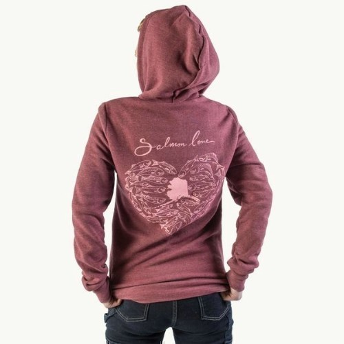 Women's Salmon Love Zip Hoodie Thumbnail