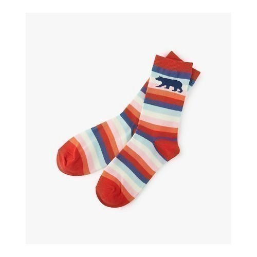 W Crew Socks-Cute Stripe Bears Thumbnail